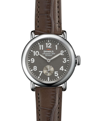 The Runwell Stainless Watch with Gray Alligator Leather Strap, 36mm