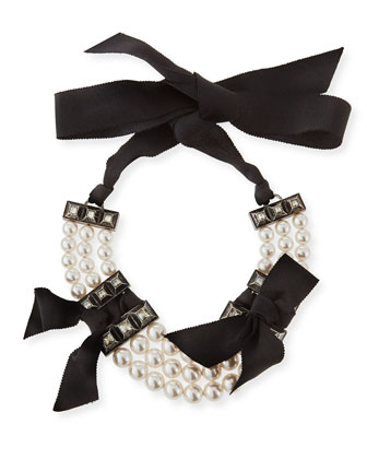 Short Black Grosgrain Pearly Bib Necklace