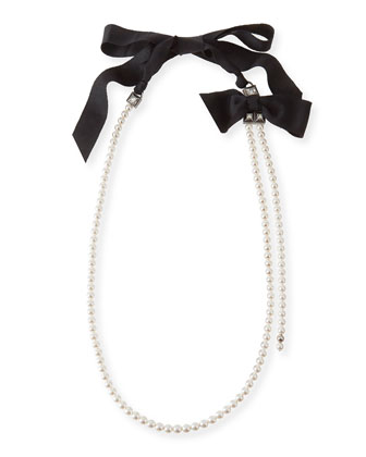Long Pearly Necklace with Black Grosgrain
