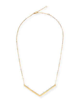 Chevron Charm Necklace, Golden