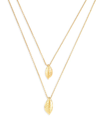 Layered Leaf Necklace, Golden
