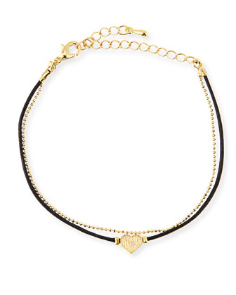 Heart Chain Rope Bracelet, Golden