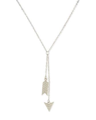 Lariat Arrow Charm Necklace, Silvertone