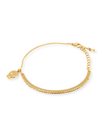 Pave Bar Bracelet with Skull Charm, Golden