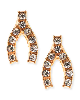 Mini Pave Crystal Wishbone Studs, Golden