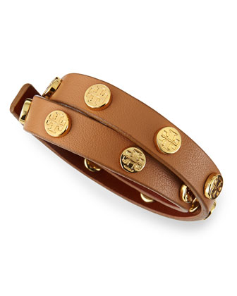 Logo-Studded Leather Wrap Bracelet, Aged Vachetta