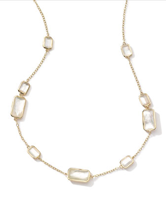 18k Gold Rock Candy Gelato 9 Mother-of-Pearl Station Necklace