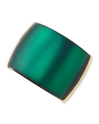 Liquid Metal Lucite Hinge Bracelet (Made to Order), Black Forest Green