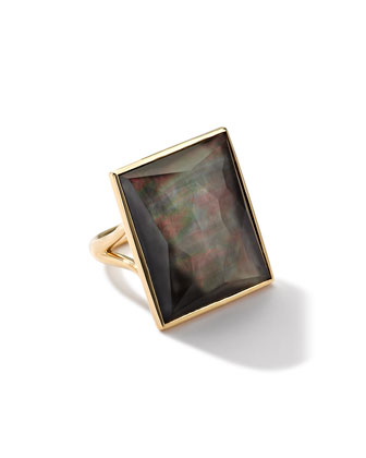 18k Gold Gelato Medium Black Shell Baguette Ring
