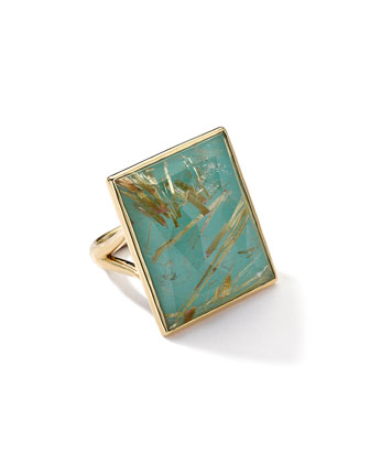 18k Gold Gelato Medium Rutilated Quartz/Turquoise Ring