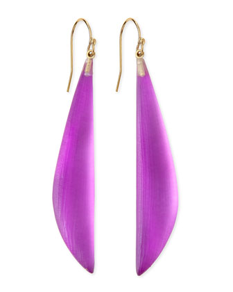 Long Angled Lucite Drop Earrings (Made to Order), Hot Pink