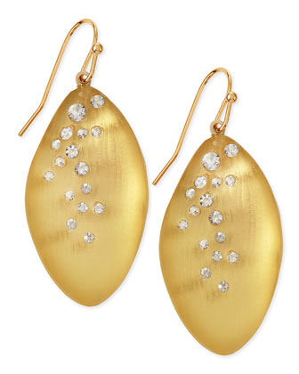 Medium Crystal-Dust Lucite Leaflet Earrings (Made to Order), Gold