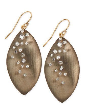 Medium Crystal-Dust Lucite Leaflet Earrings (Made to Order), Warm Gray