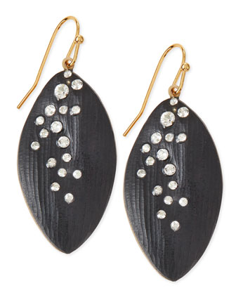 Medium Crystal-Dust Lucite Leaflet Earrings (Made to Order), Black