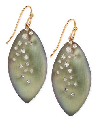 Medium Crystal-Dust Lucite Leaflet Earrings (Made to Order), Labradorite