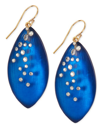 Medium Crystal-Dust Lucite Leaflet Earrings (Made to Order), Cobalt
