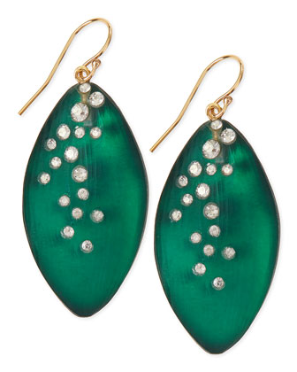 Medium Crystal-Dust Lucite Leaflet Earrings (Made to Order), Black Forest Green
