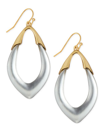 Medium Lucite Orbit Link Drop Earrings (Made to Order), Silver