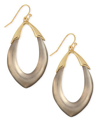 Medium Lucite Orbit Link Drop Earrings (Made to Order), Warm Gray