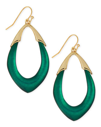 Medium Lucite Orbit Link Drop Earrings (Made to Order), Black Forest Green ...
