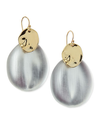 Liquid Chip Wire Lucite Earrings (Made to Order), Silver