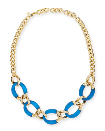 Lucite Curb-Link Necklace (Made to Order), Cobalt