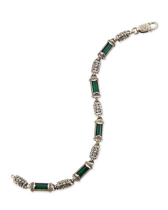 Ismene Green Agate & Silver Bracelet