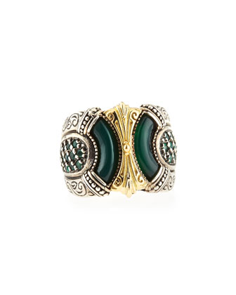 Silver & Gold Green Agate Band Ring