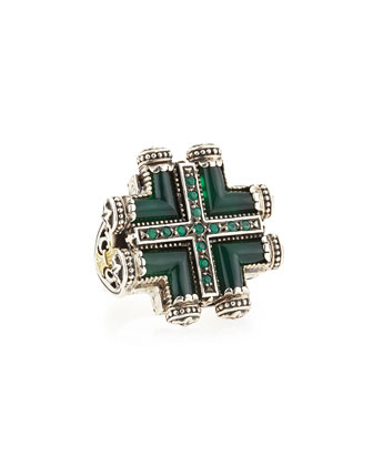 Silver & Gold Green Agate Maltese Cross Ring