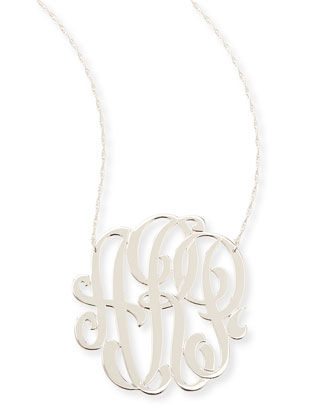 Silver Large 3-Letter Monogram Necklace