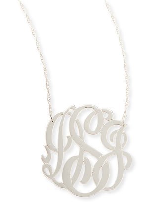 Silver Medium 3-Letter Monogram Necklace