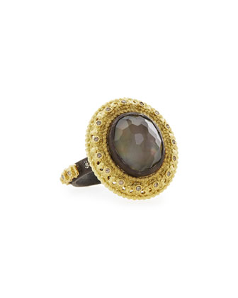 Old World Smoky Quartz/Black Mother-of-Pearl Ring