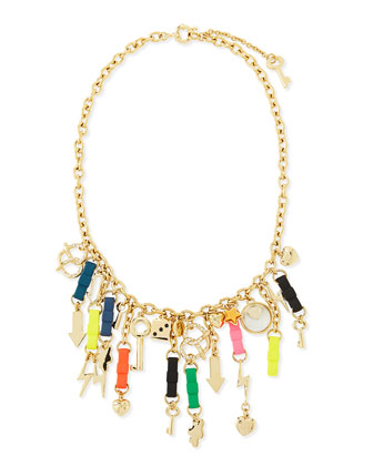 Bow Tie Charm Mash-Up Necklace, Multicolor