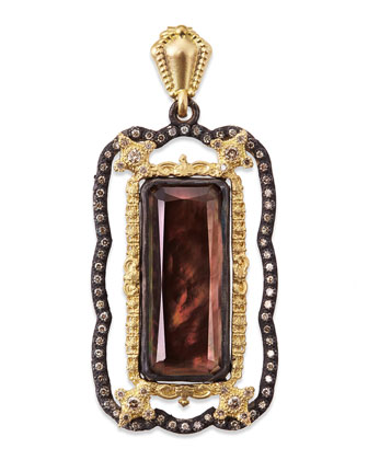 Carved Cravelli Enhancer Pendant with Black Mother-of-Pearl & Quartz