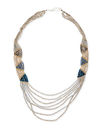 Zigzag Layered Czech Crystal Necklace, Blue/Gray