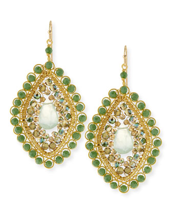 Briolette Beaded Teardrop Earrings, Green