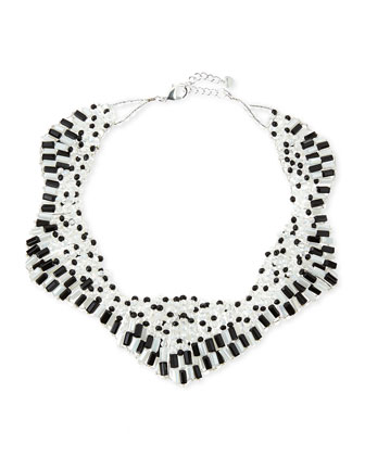 Two-Tone Czech Crystal Star Necklace, Black/White