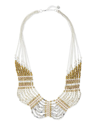 Scalloped Mixed Metal Collar Necklace, Golden