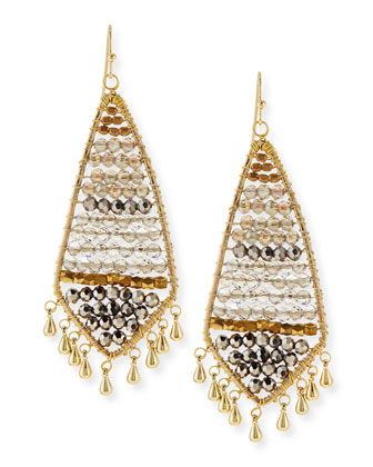Czech Crystal Beaded Fringe Earrings, Smoke/Golden