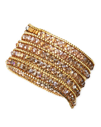 Czech Crystal Beaded Wrap Bracelet