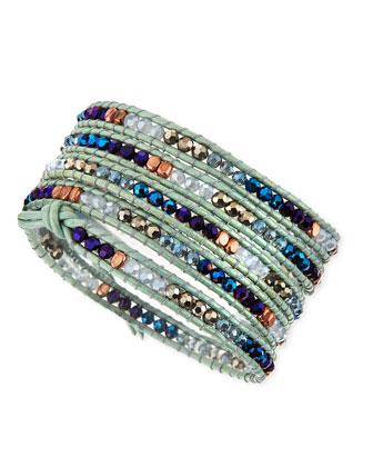 Czech Crystal Leather Cord Wrap Bracelet, Blue