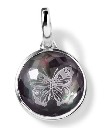 Sterling Silver Butterfly Intaglio Charm, Black Shell Doublet
