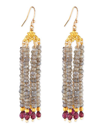 Labradorite & Garnet Bead Chandelier Earrings