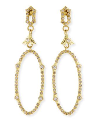 18k Open Oval Drop Diamond Earrings