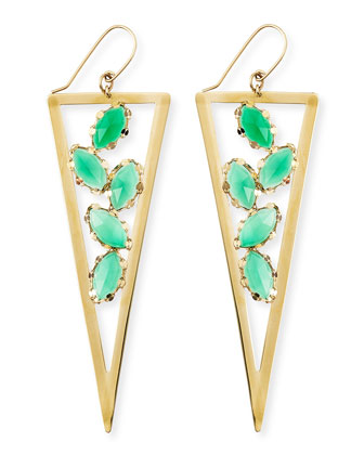 Ultra Envy 14k Gold Green Onyx Spike Earrings