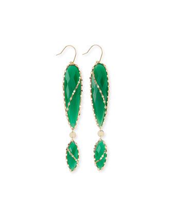 Envy Green Onyx Double-Drop Earrings