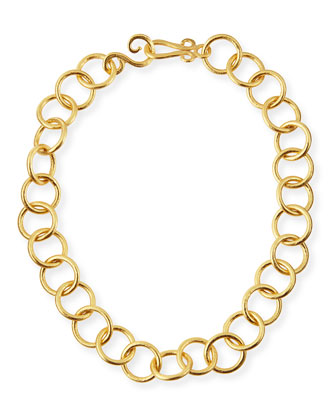 24k Gold-Plated Bronze Classic Link Necklace, 18