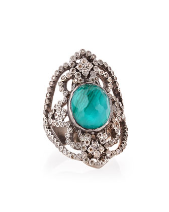 New World Scroll Ring with Malachite/Blue Topaz & Diamonds, Size 6.5