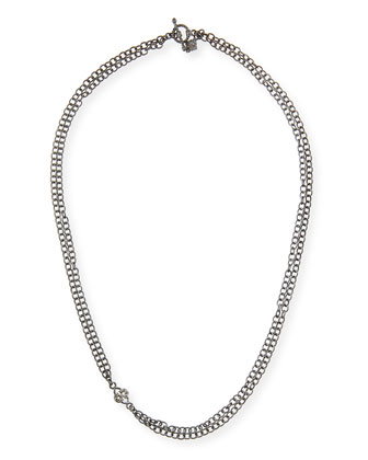 Double-Strand Chain Necklace with Champagne Diamond Scroll