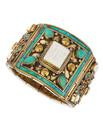 White Shell & Turquoise Brass Bangle